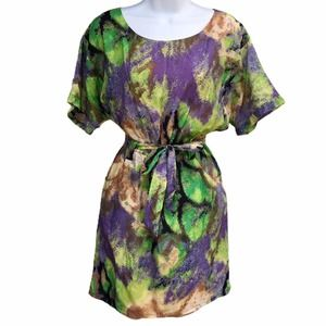 Silk Charlie Jade Abstract Belted Mini Dress